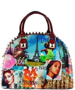 Magazine Print Patent Shoulder Design Handbag NR5001PA