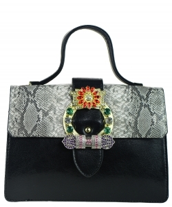 Elegant Modern Colored Fashion Handbag A81034 BLACK