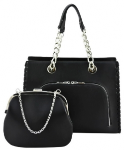 Designer 2 IN 1 Handbag Set SH208 BLACK