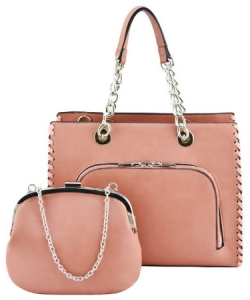 Designer 2 IN 1 Handbag Set SH208 BLUSH