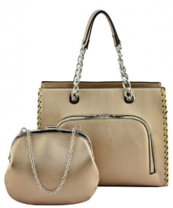 Designer 2 IN 1 Handbag Set SH208 CHAMPAGNE