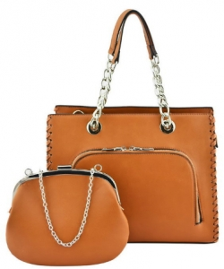 Designer 2 IN 1 Handbag Set SH208 TAN