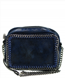 Mini Chain Faux Leather Handbag A81017 BLUE