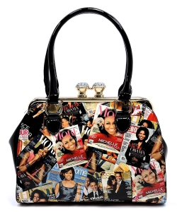 Magazine Cover Collage Kiss Lock Satchel PA0024-BLACK