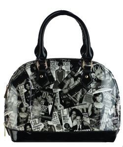Magazine Print Patent Shoulder Design Handbag PA0026 BLACK