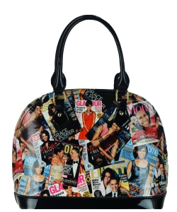 Magazine Print Patent Shoulder Design Handbag PA0026 MULTI