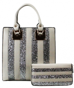 Glitter 2 IN 1 Elegant Fashion Handbag CY162 SILVER