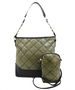Trendy 2 In One Wholesale Fashion Handbag Set TZ173 GREEN