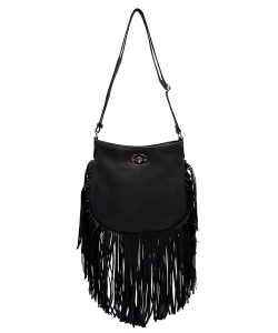Faux Leather Fringe Hand Bag E096 BLACK