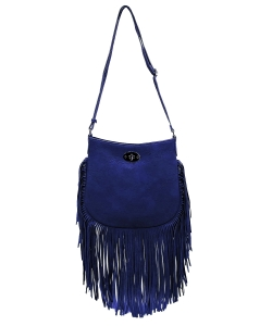 Faux Leather Fringe Hand Bag E096 NAVY