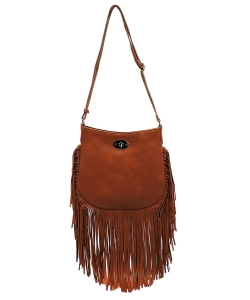 Faux Leather Fringe Hand Bag E096 TAN