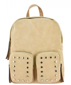 Designer Star Studded Backpack ST510 BIEGE