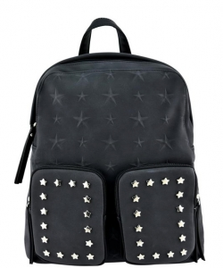 Designer Star Studded Backpack ST510 BLACK