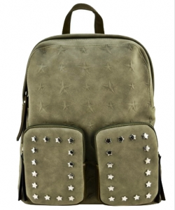 Designer Star Studded Backpack ST510 GREEN