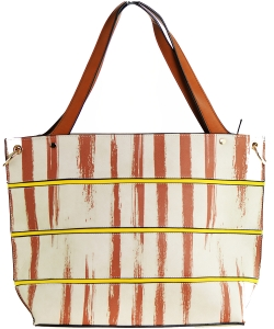 Striped Faux Leather Satchel BS-110  BIEGE