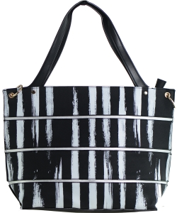 Striped Faux Leather Satchel BS-110  BLACK