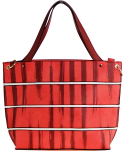 Striped Faux Leather Satchel BS-110  CORAL