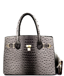 Padlock Accent Ostrich Embossed Large Tote Wallet SET EW1552