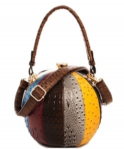 Fashion Ball Color Block Ostrich Handbag LW2038A