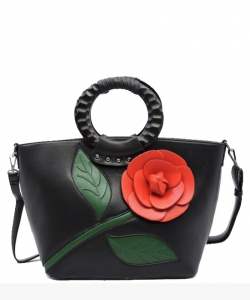 3D Flower Wooden Top Handle Satchel PW1555