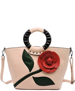 3D Flower Wooden Top Handle Satchel PW1555 BLUSH