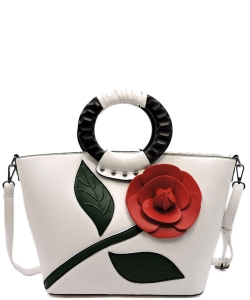 3D Flower Wooden Top Handle Satchel PW1555 WHITE