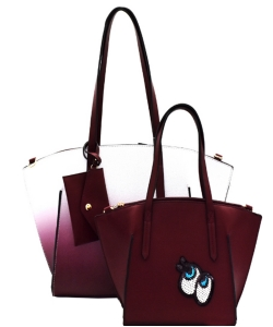 3 in 1 Shopper Tote SET EJ1294 WINE