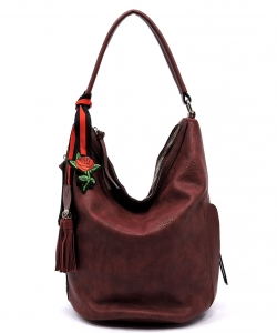 Fashion Bucket Shoulder Bag QW1386 BURGANDY