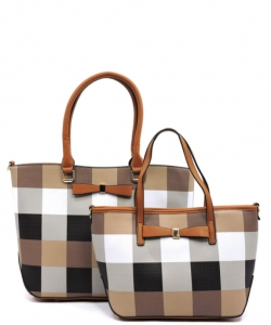 Fashion Faux Leather Plaid 2 in 1 Handbag with Bow GZ1404 BROWN