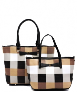 Fashion Faux Leather Plaid 2 in 1 Handbag with Bow GZ1404 COFFEE