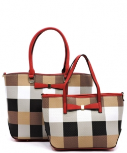 Fashion Faux Leather Plaid 2 in 1 Handbag with Bow GZ1404 RED