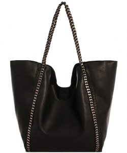2 in 1 Trendy Chained Modern Shopper Bag BGW48618  BLACK