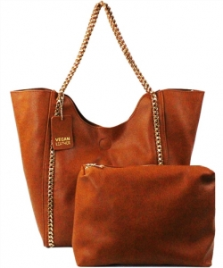 2 in 1 Trendy Chained Modern Shopper Bag BGW48618 TAN
