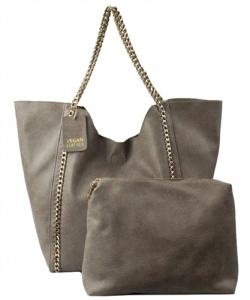 2 in 1 Trendy Chained Modern Shopper Bag BGW48618 TAUPE