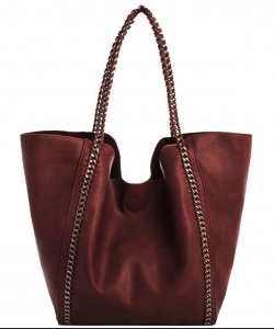 2 in 1 Trendy Chained Modern Shopper Bag BGW48618 WINE