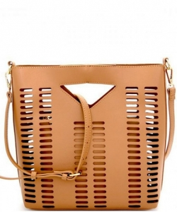 Lazer-Cut 2 IN 1 Satchel Shoulder Bag BGT2971 BIEGE