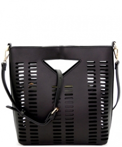 Lazer-Cut 2 IN 1 Satchel Shoulder Bag BGT2971 BLACK
