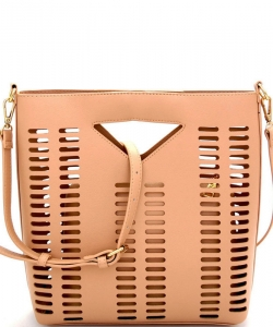 Lazer-Cut 2 IN 1 Satchel Shoulder Bag BGT2971 BLUSH