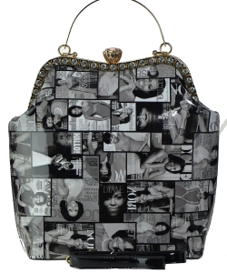 Fashion Magazine Print Faux Patent Leather Handbag With Gold Embellishments 3613 BLACK
