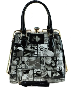 Magazine Print Patent Shoulder Design Handbag 28MP36041 BLACK