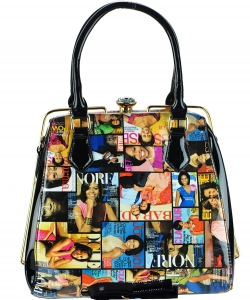 Magazine Print Patent Shoulder Design Handbag 28MP36041 MULTI
