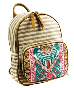 Stripe Print Braid Strap BackPack BGS3609  BEIGE