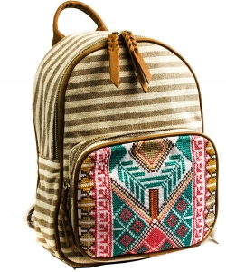 BGS3609  Stripe Print Braid Strap BackPack BIEGE