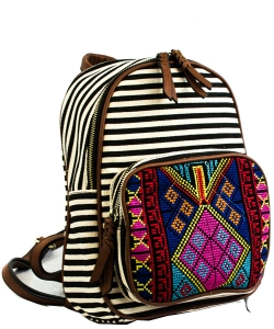 Stripe Print Braid Strap BackPack BGS3609  BLACK