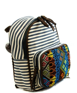 Stripe Print Braid Strap BackPack BGS3609  NAVY