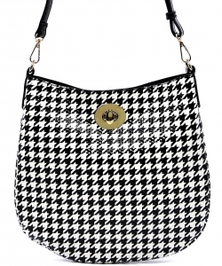 Patent Black and White Checkered Handbag H01 BLACK