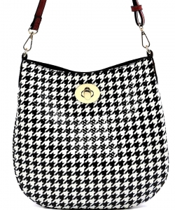 Patent Black and White Checkered Handbag H01 RED