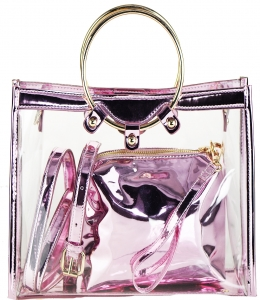 2 in 1 One  shoulder bag, One small zipper bag ES1582 PINK