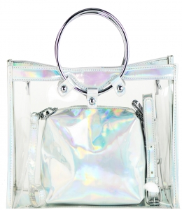 2 in 1 One  shoulder bag, One small zipper bag ES1582 SILVER