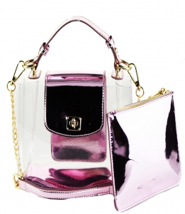 2 in 1 One Mini shoulder bag, One small zipper bag ES2225 PINK